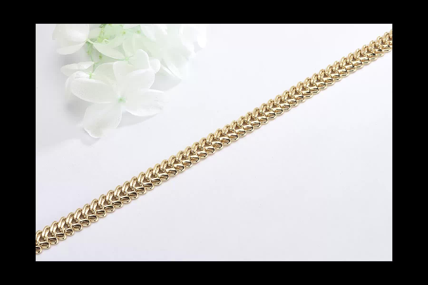 Famous Cuban chain Bridal Indian Gold Plated Necklace Jewelry Woman Chain Set