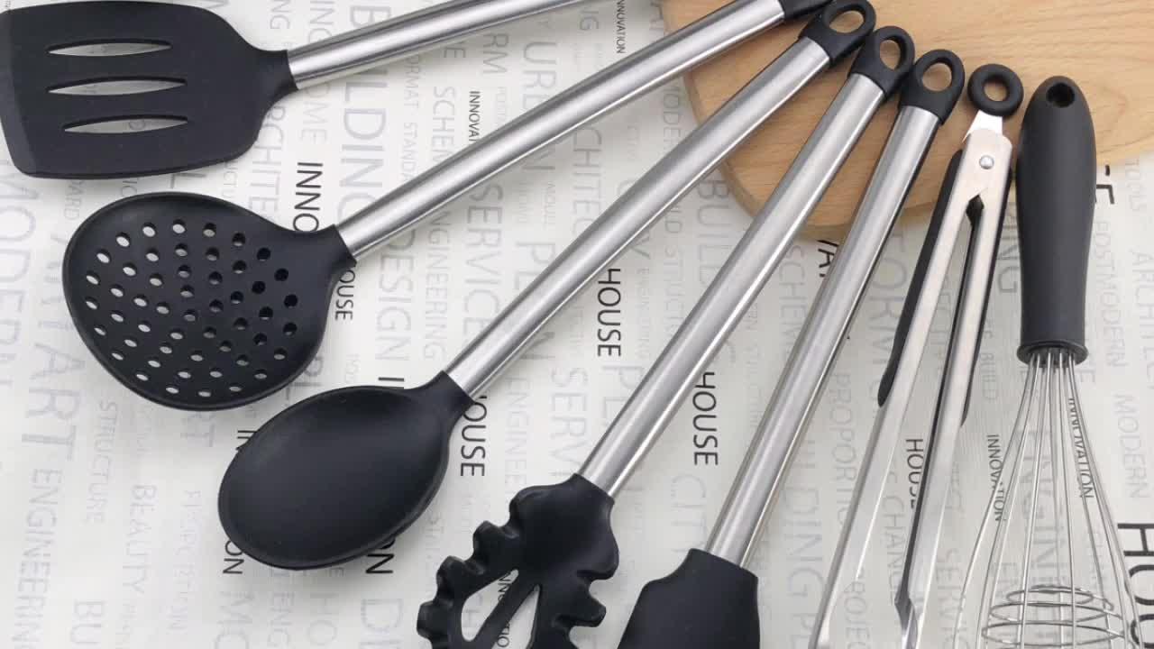 हिमि उच्च गुणवत्ता 8 pieces सिलिकॉन रसोई के बर्तन सेट/सिलिकॉन बरतन/खाना पकाने के उपकरण स्टेनलेस स्टील संभाल के साथ