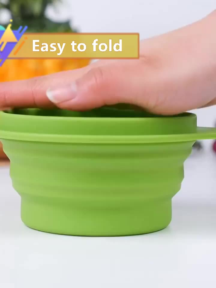 Food grade silicone portable camping collapsible bowl
