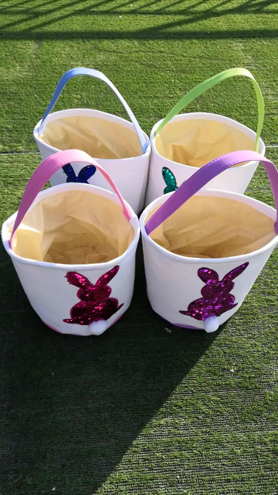 Nueva llegada precioso conejito de Pascua de lentejuelas de cubo