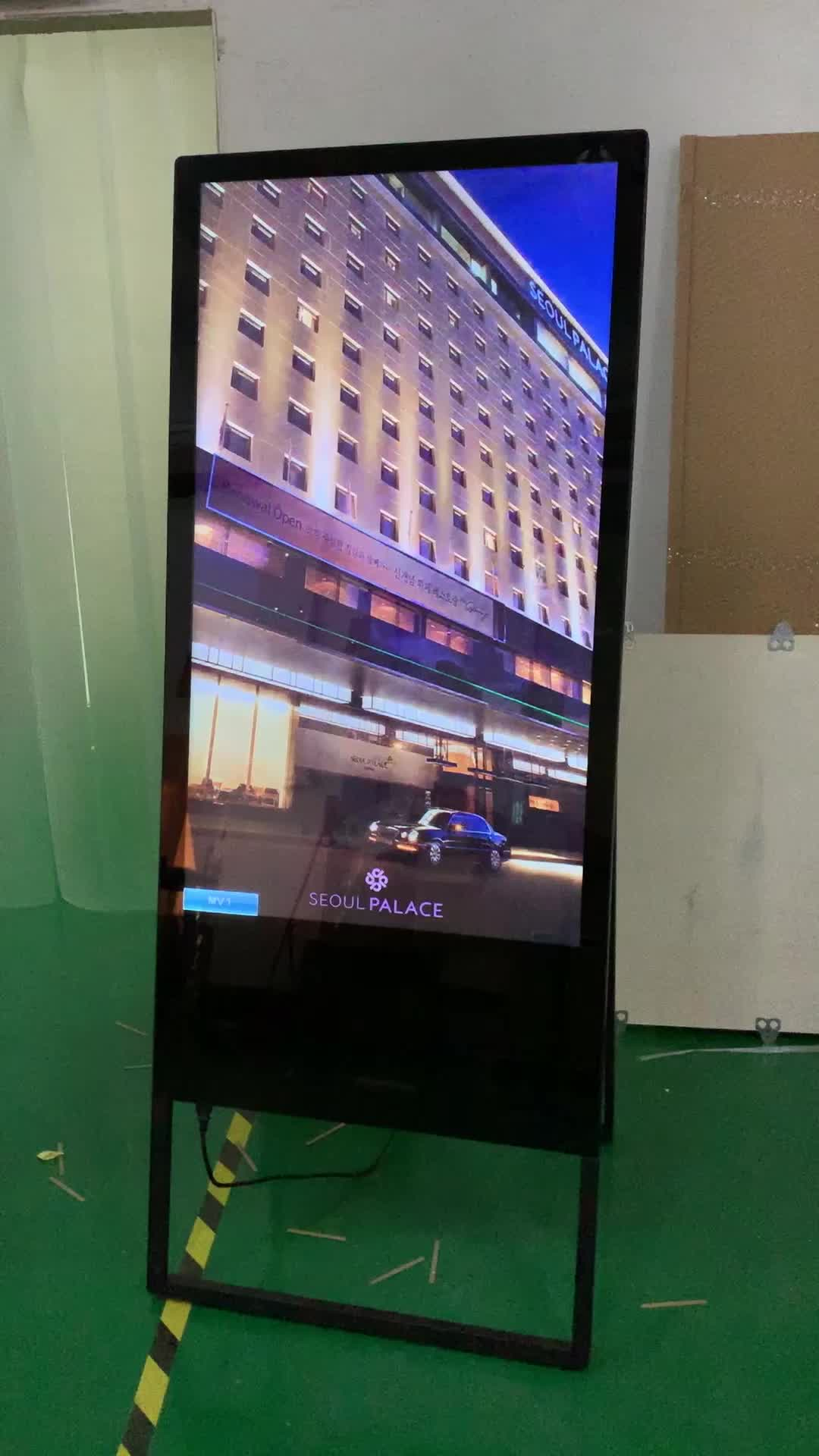 "Draagbare vloerstaande 43 ""inch LED LCD WIFI netwerk Android reclame board touchscreen PC kiosk self-service signage totem"