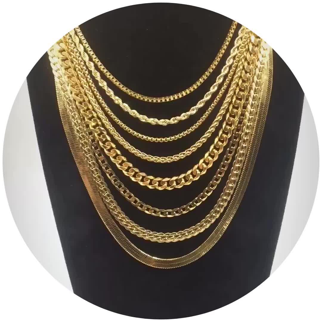 Daicy fábrica de jóias atacado personalizado de alta qualidade material de latão banhado a ouro 18k barato flat cobra cadeia colar