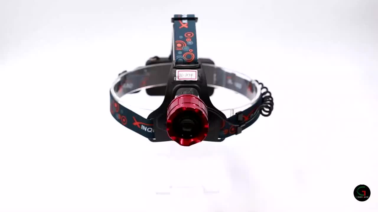 Aluminum zoomable ultra bright 300 lumen 10 watts XML - T6 18650 rechargeable battery LED lighting headlamp withe red laser