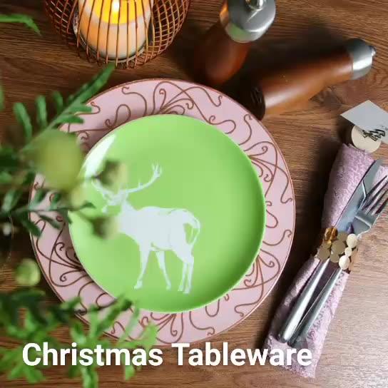 New Design Porcelain Side Plates and Dinner Plates for Christmas