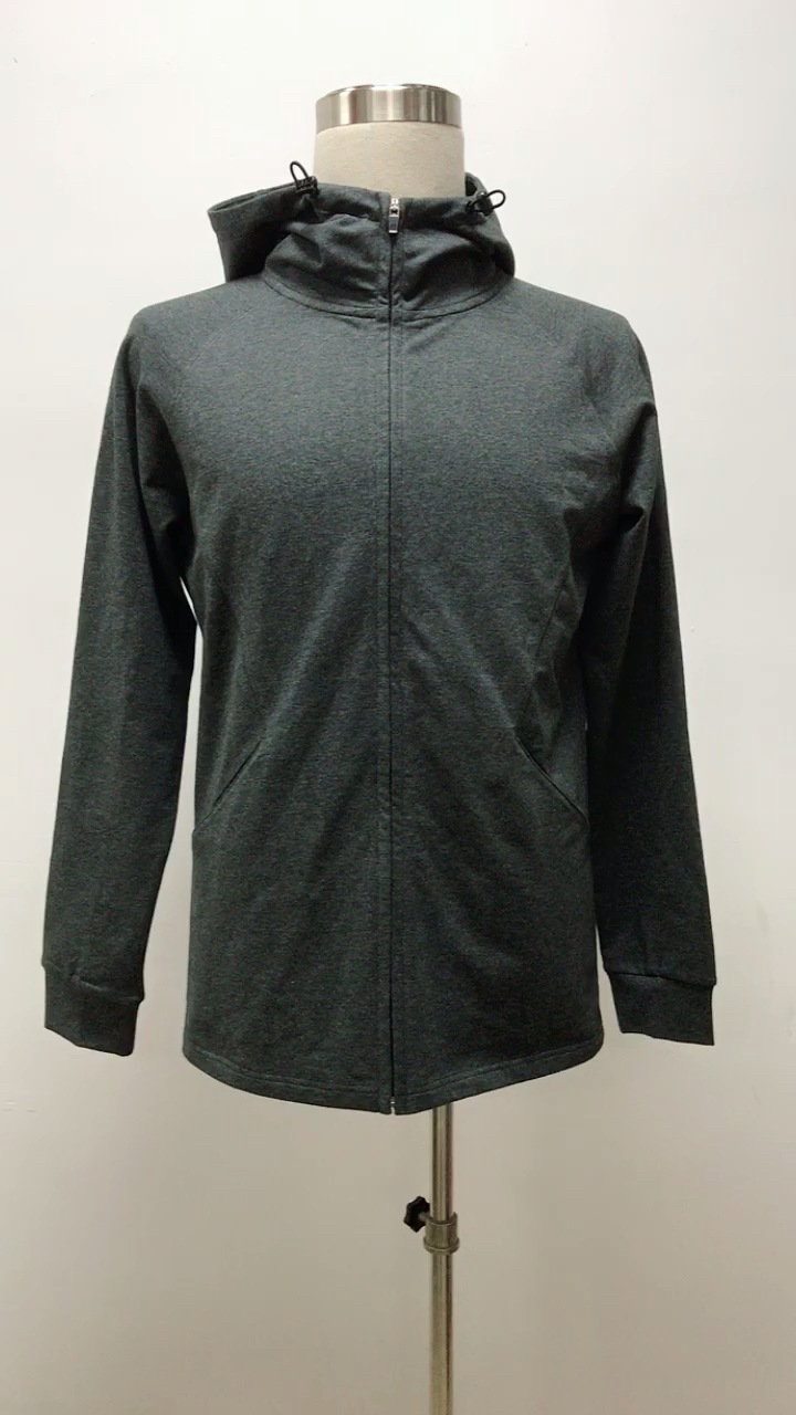 High Quality French Terry Fitness Clothing Slim Fit Zip Up Men Gym Hoodies