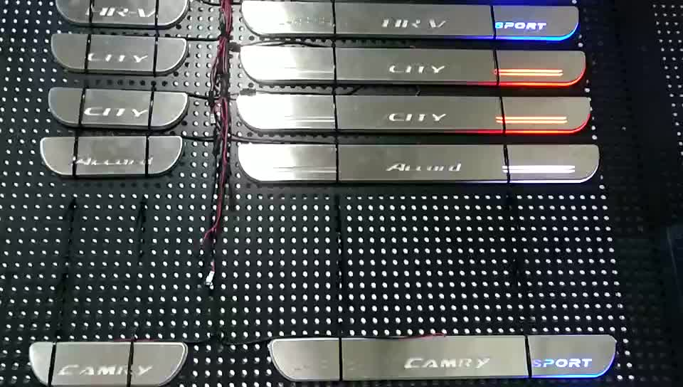 Factory Direct Sales Door Sill Plate With Led, Led Moving Door Sill Scuff Plate, Wired Led Door Sill Plates