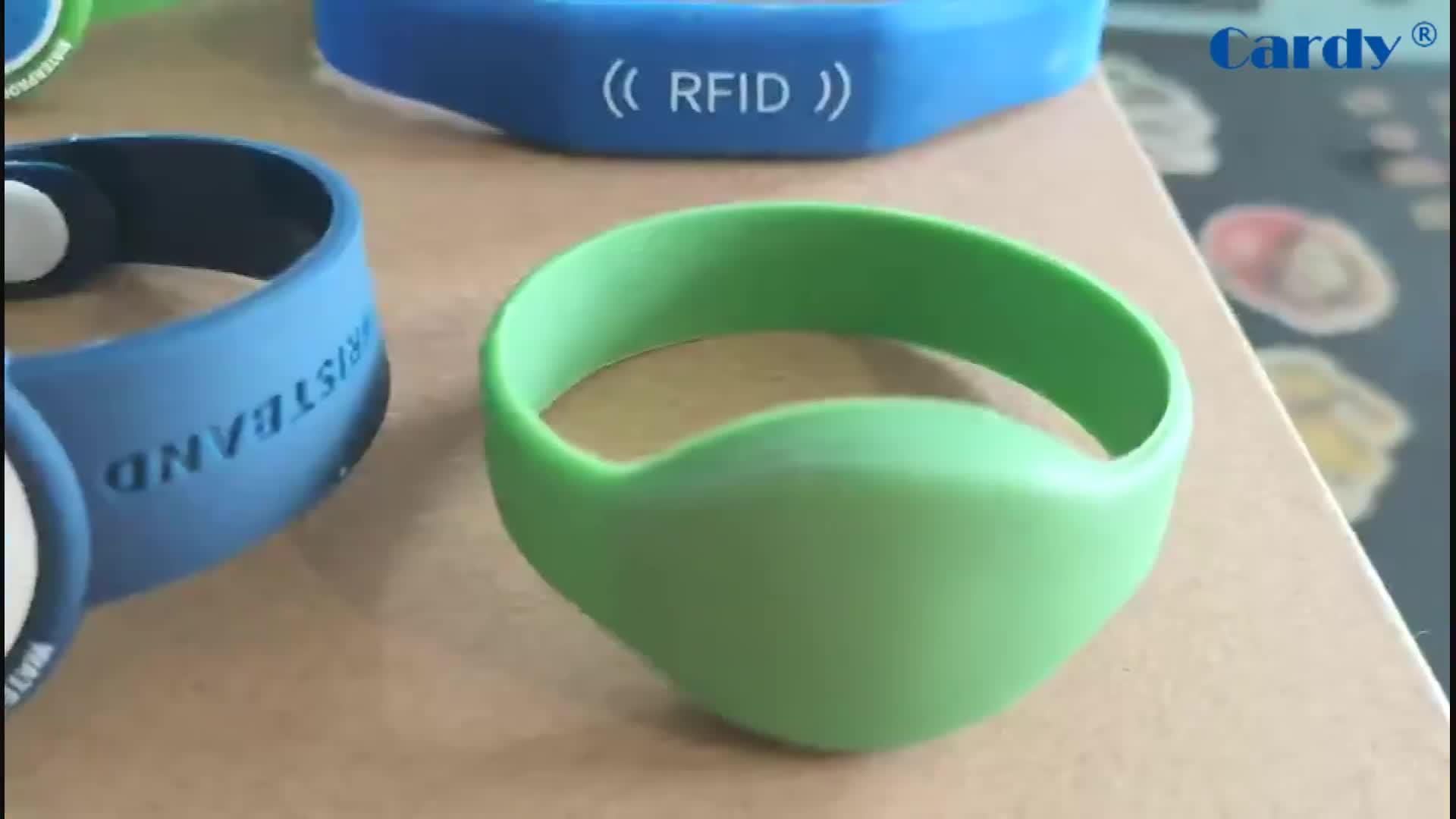 13.56 MHz Reusable 방수 실리콘 RFID 탄성 팔찌