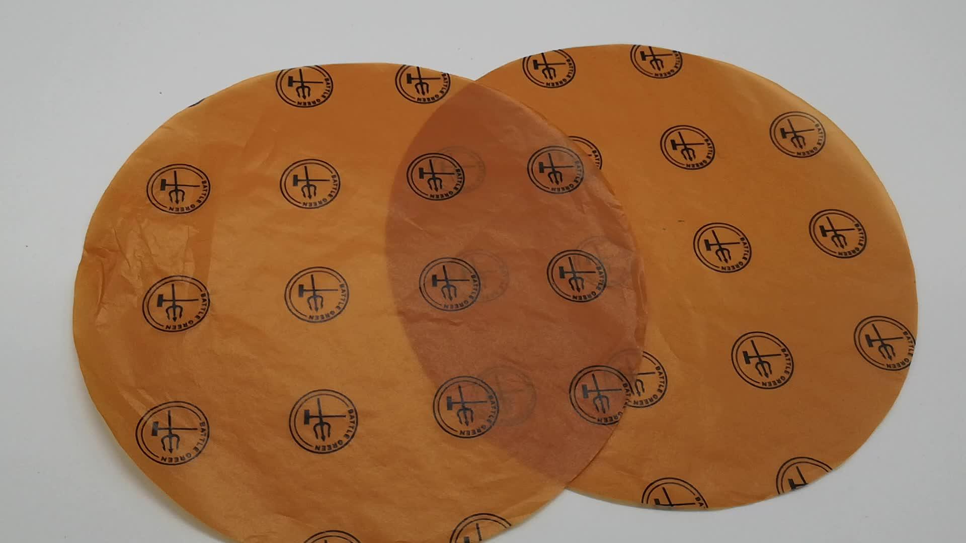 Custom Biologisch Afbreekbaar Vet Proof Absorberende Glassie Burger Wikkelen Bruin Kleur Wax Papier Vel