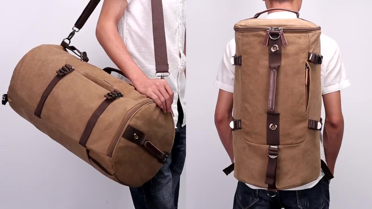 Custom travel knapsack plain vintage back pack male cylinder rucksack hipster canvas and leather backpack for men