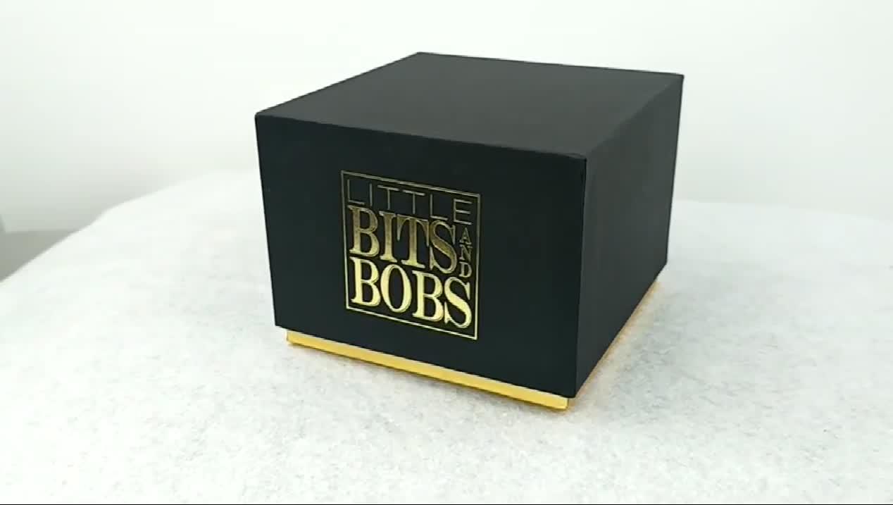 High quality black cardboard packaging rigid gift box with lid