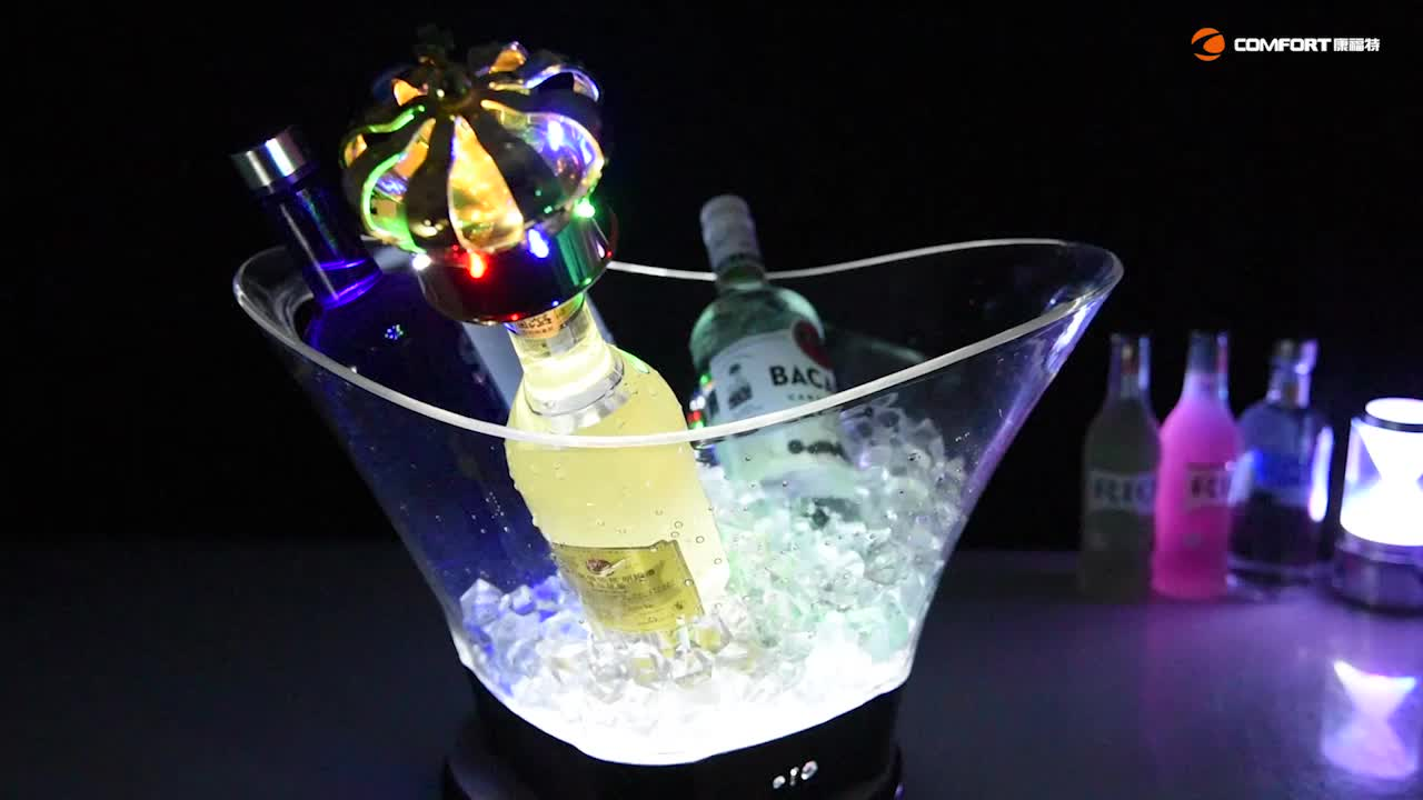 OEM manufacturer made beer wine champagne branded acrylic plastic oil engraved led ice bucket for decorative