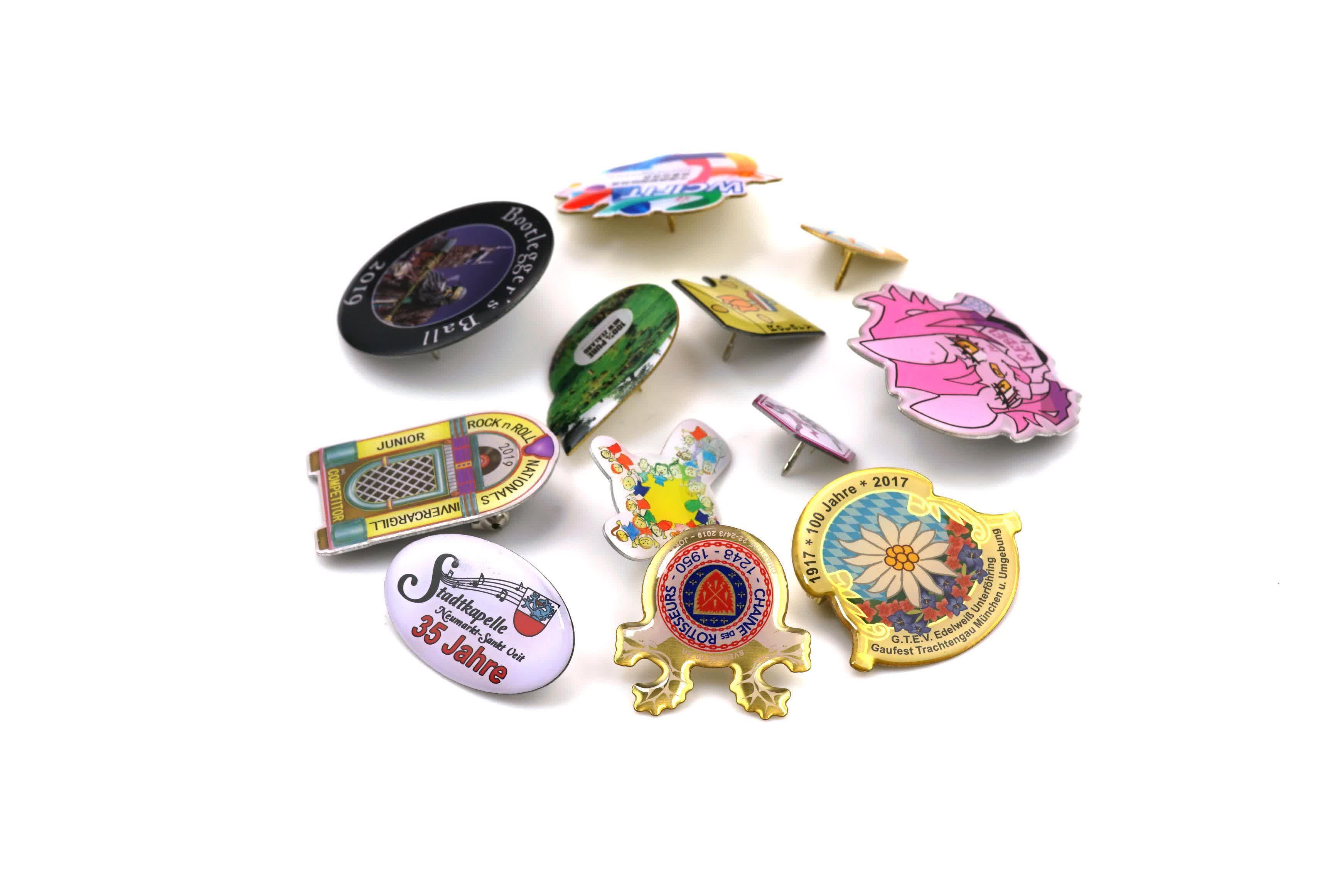 Factory Direct Custom Colorful Pattern Printed Hard Enamel Pins