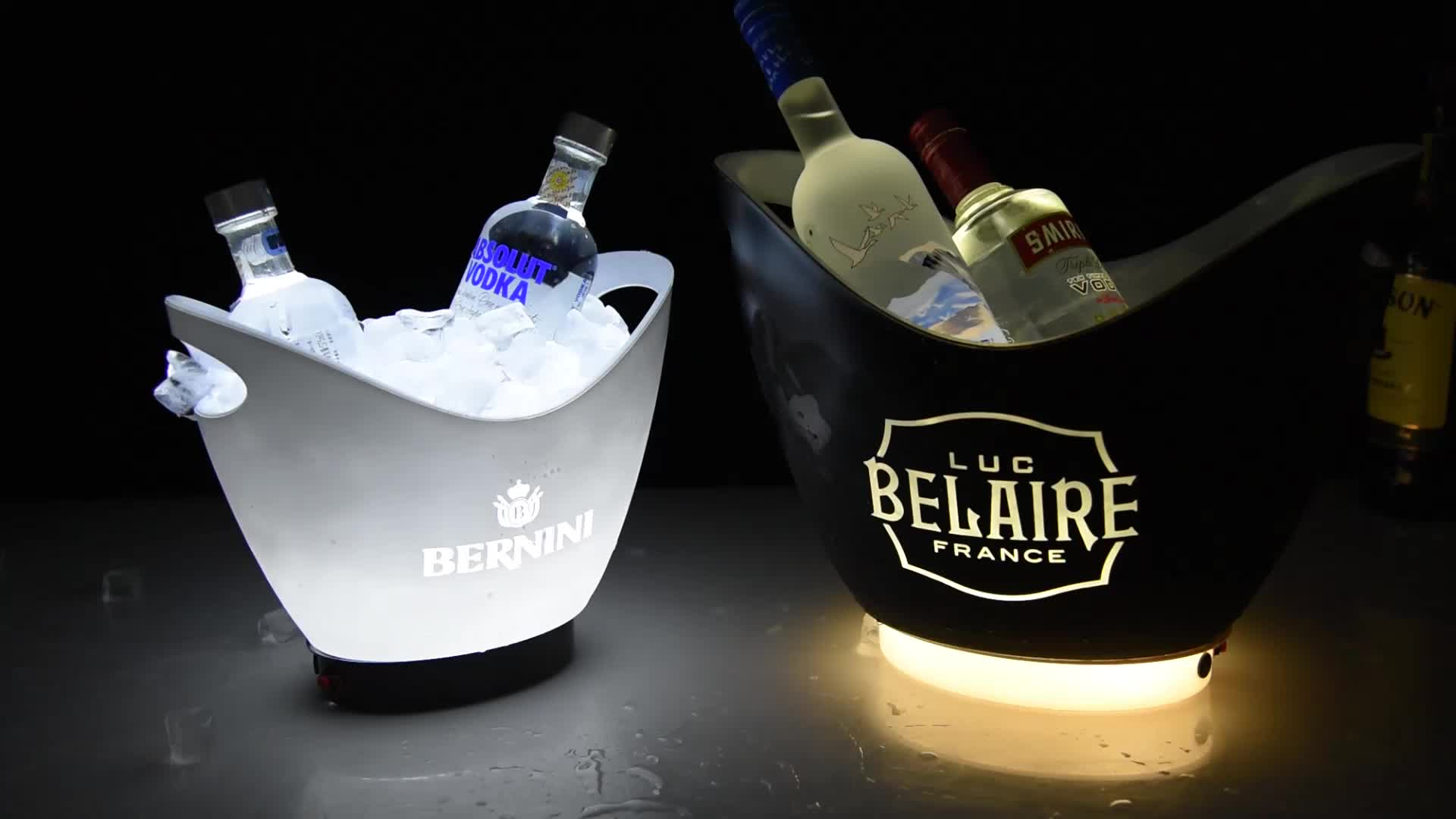 8L black color Boat shape ps plastic painting laser style lighting led ice bucket for bar club