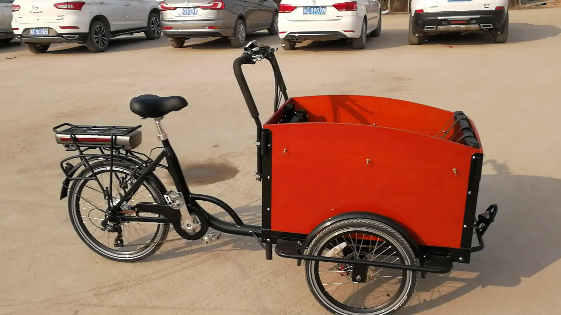 Nuovo modello bakfiets a tre ruote triciclo cargo bici elettrica a buon mercato per la vendita