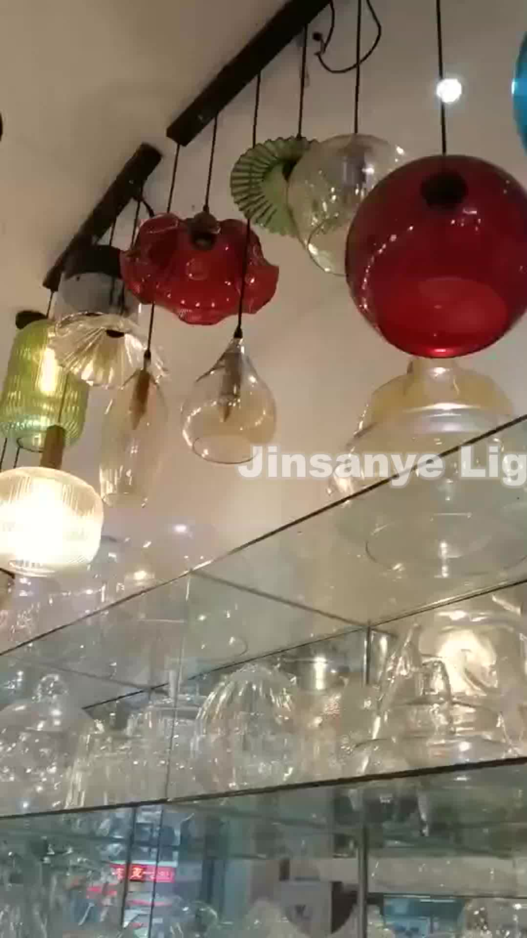 צבעוני ברור זכוכית גדול תליון מנורת קישוט בסגנון אמריקאי נברשת נברשת תליון אור