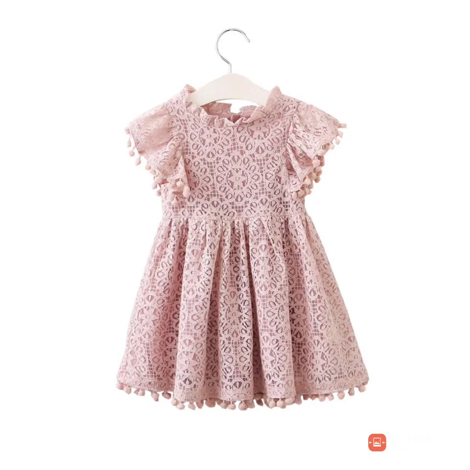 Pink Lace Flower Girl Dress Baby Girl Lace Petti Dress Wedding Party Vintage Style Dresses