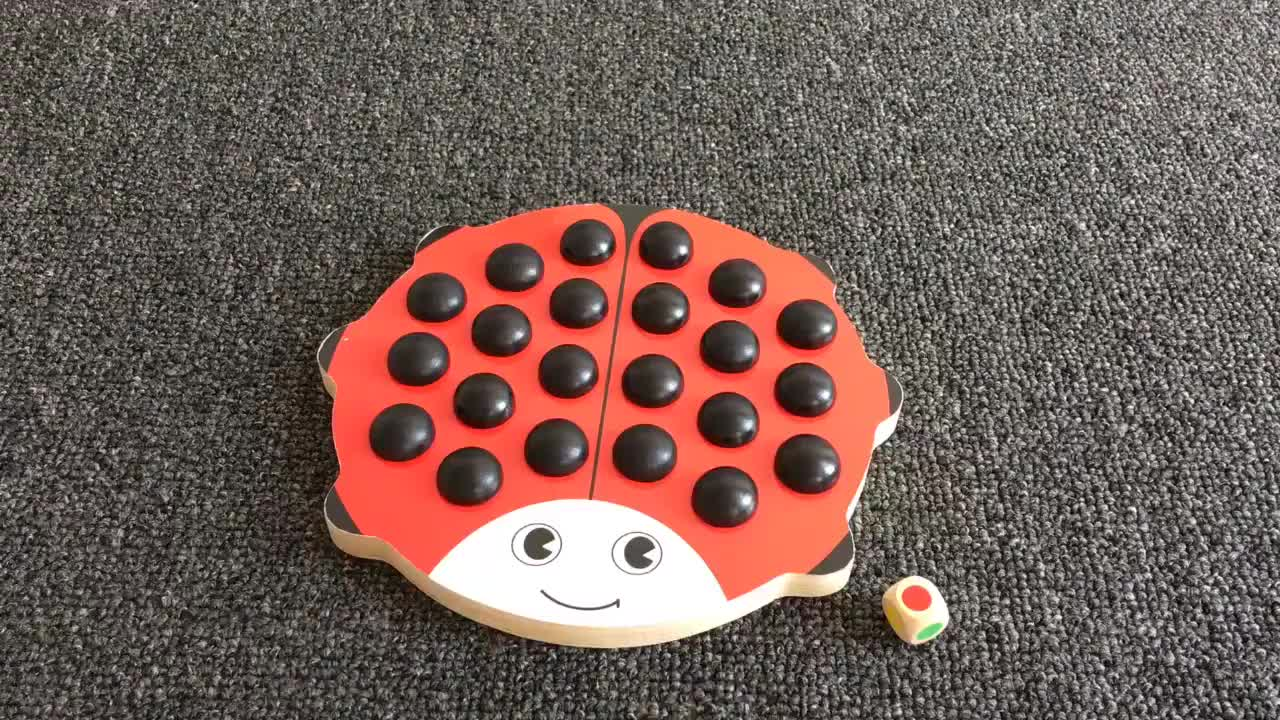 Round Wooden Puzzle Beetle Memory Chess Preschool Training Toys for Children