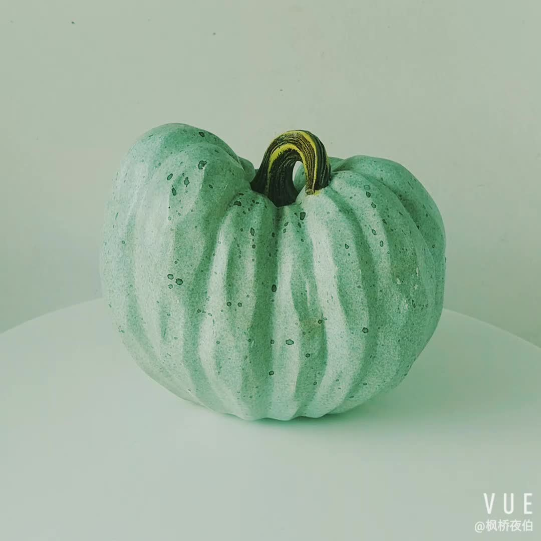 6 Inch Tabletop Decoration Blue  Craft White Fall Pumpkin