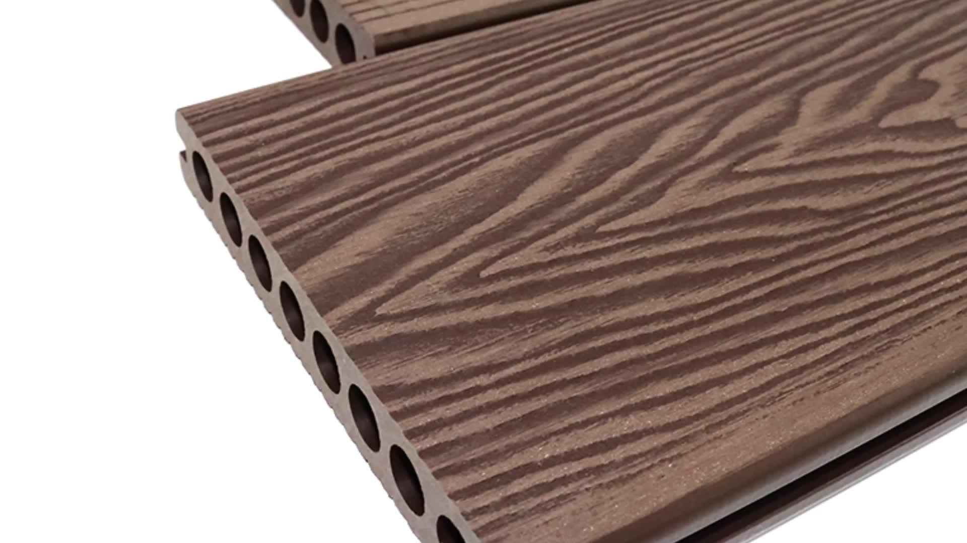 WPC Esterno Impermeabile di Nuoto Piscina 3D goffratura grano di legno del pavimento deck Decking Composito In Legno per Esterni Deck Pavimenti In