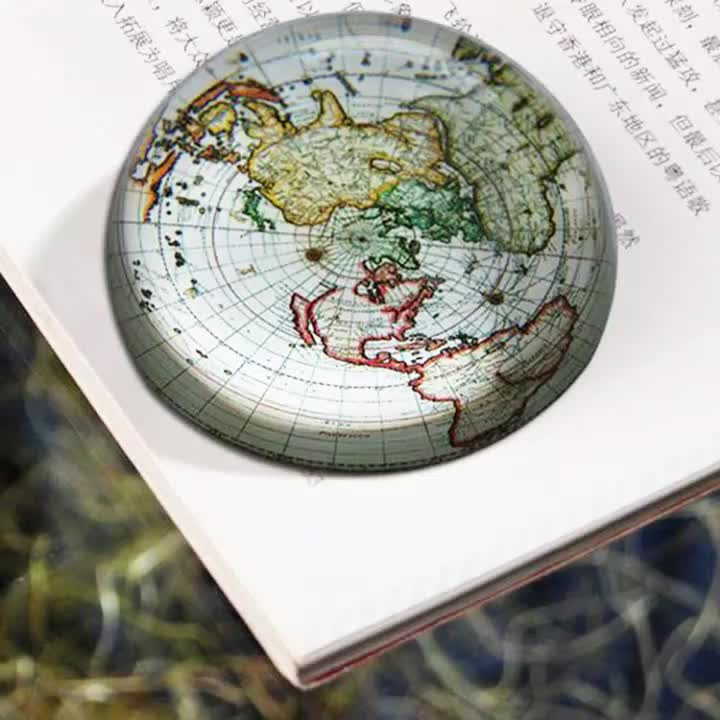Glass Dome Paperweight  European and American Map Semicircle Crystal Glass Paperweight