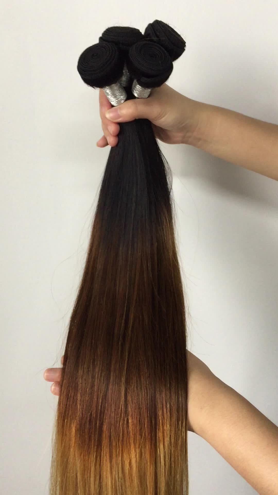 Tres tonos de Color Ombre 1b 4 27 brasileño sin procesar del pelo recto del pelo humano de la onda cutícula alineada sin enredo No arrojar humanos pelo