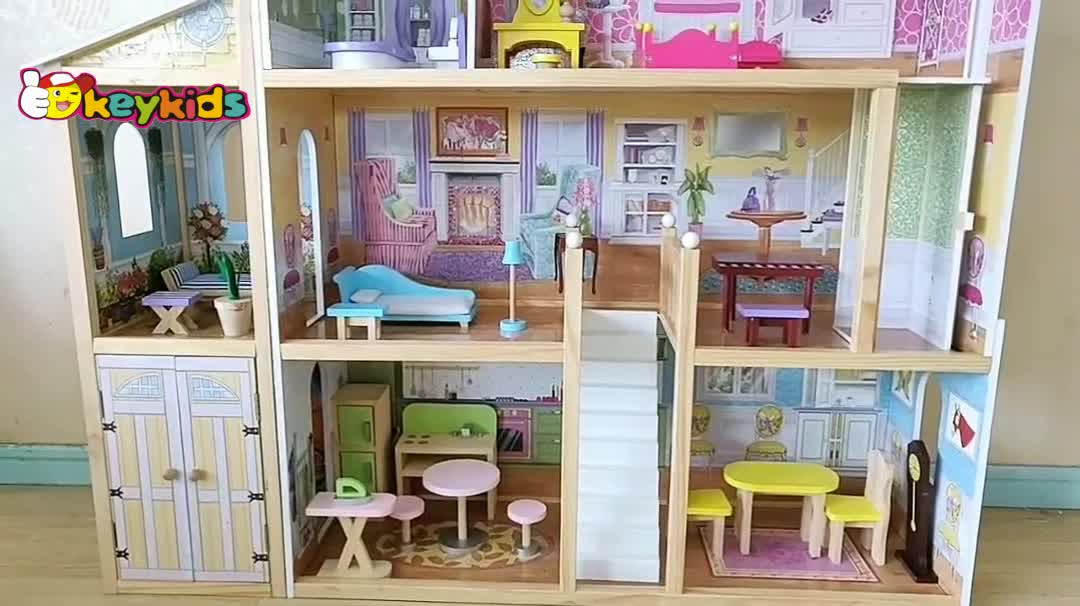 2019 New hottest kids pretend wooden big doll house for multi play W06A358