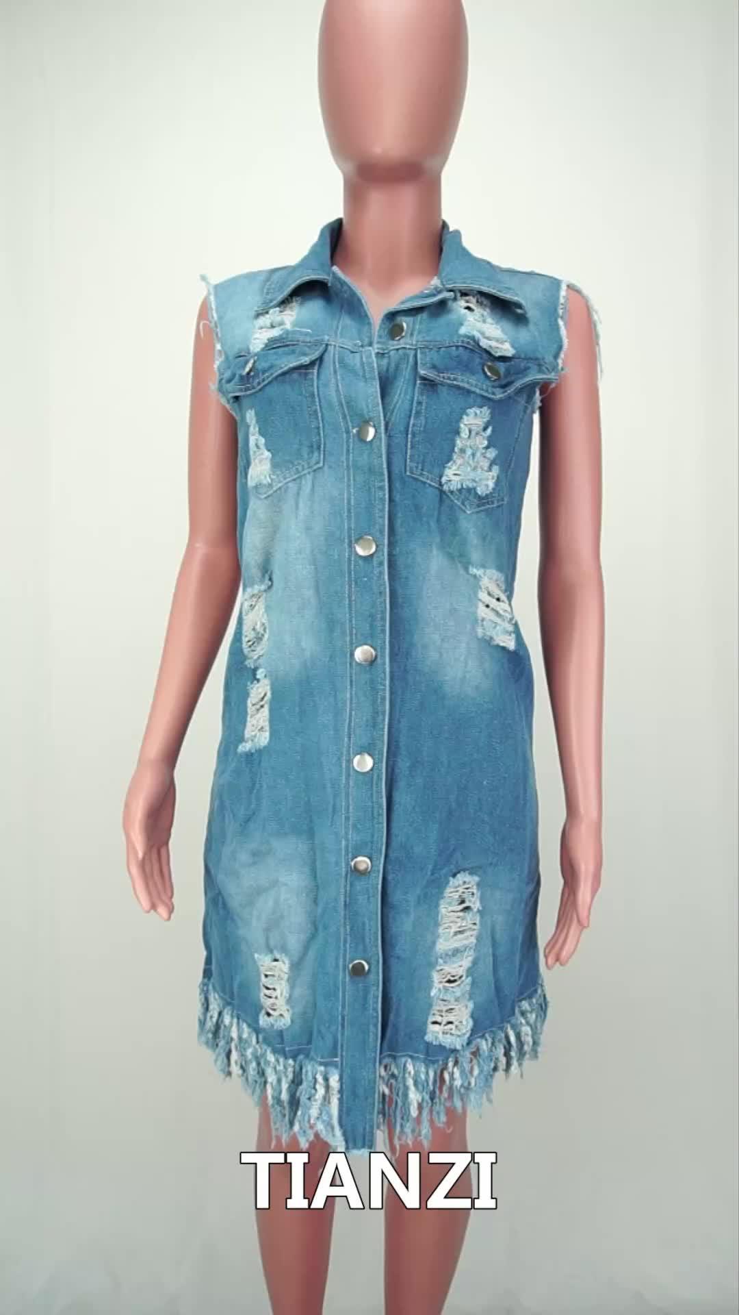 Kustom LE3103 Wanita Fashion Model Tergores Jeans Denim