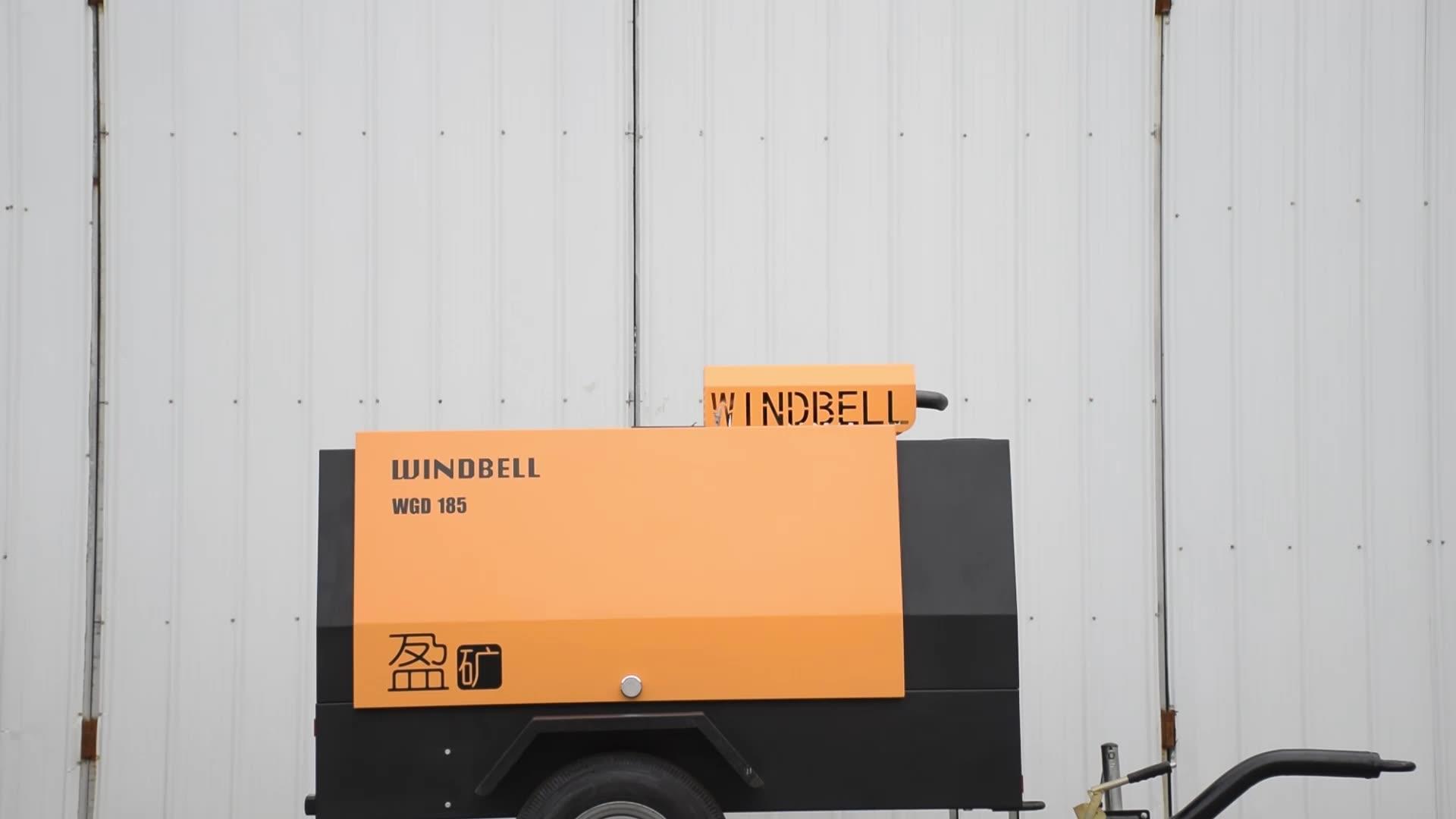 Diesel tornillo 8bar remolque compresor/185cfm compresor de aire Diesel