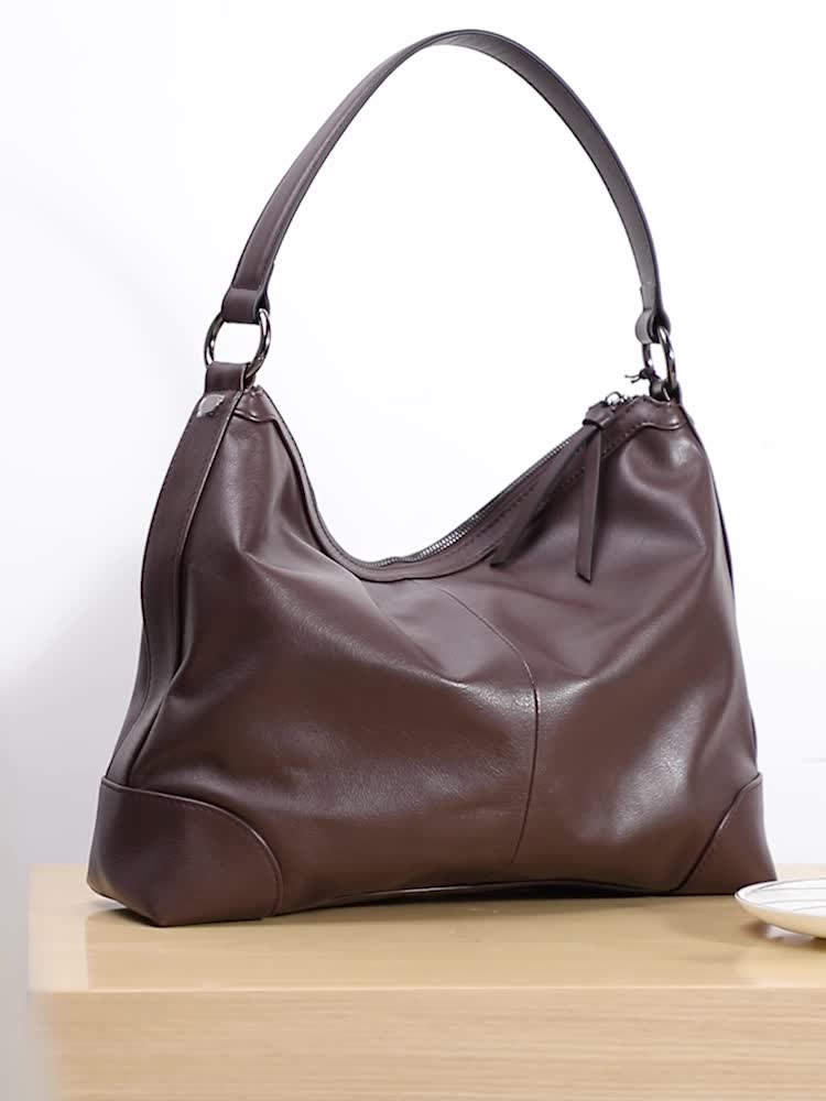 2021 Fashion French Designer Real Leather Soft Women Hobo Bags Coffee Color Ladies Totes Handbag