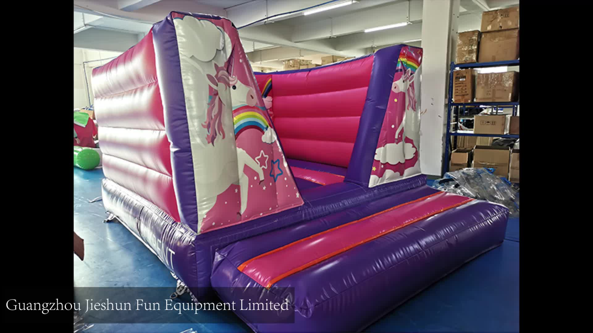 Hot sale PVC Purple unicorn inflatable jumping castle inflatable bounce house BS EN14960 standard for fun