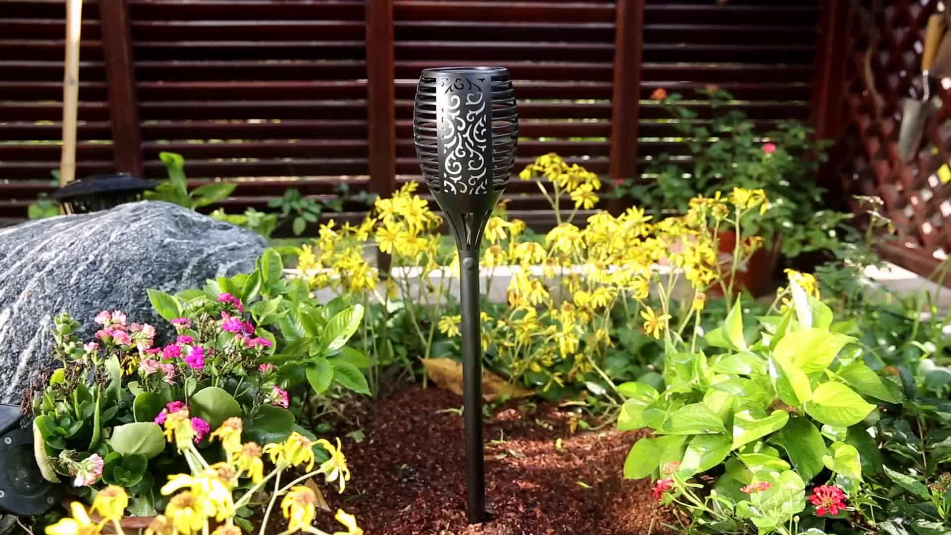 Landsign Led alev lambası açık bahçe için XLTD-P5081-1 su geçirmez 3 mod 96 LED güneş alev titrek lamba meşale ışıkları