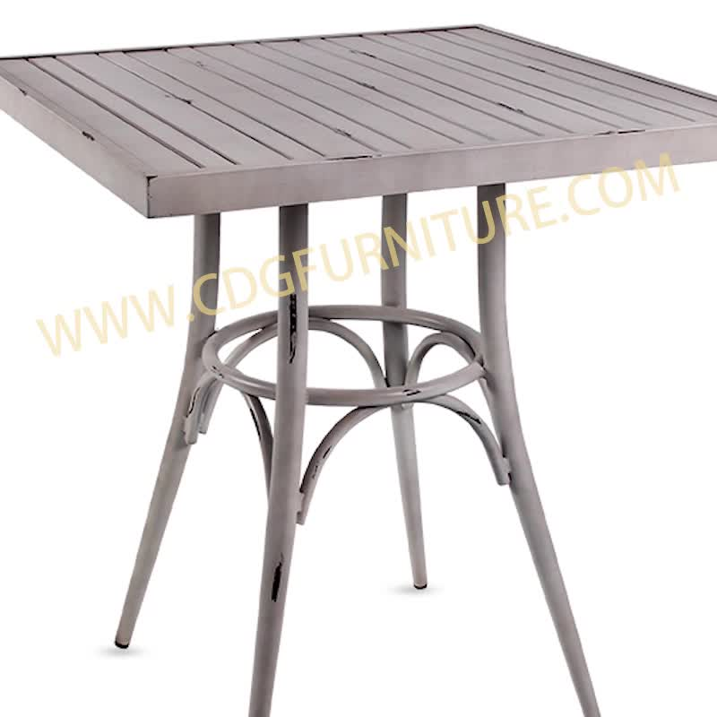 Vintage  Outside And Outdoor Restaurant Garden Party Table Chair Set Wholesale Square Aluminum Durable Table Furniture