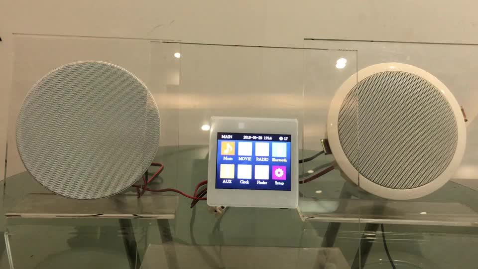 CH1866 Stereo Smart Home Sound System 4x25w 3.5inch Blue tooth Touch Screen In wall amplifier