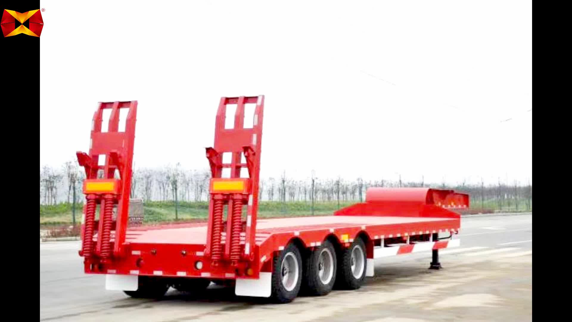 3 Axle 50 tonnes 60 ton Hydraulic Low Bed Semi Trailer Dimensions for sale