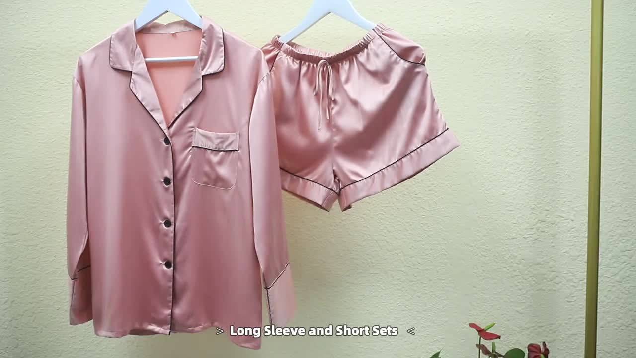 Fung 6002 New Arrival Couples Pajama Sets home wear Wholesale Women Nightwear Two Pieces long Sleeve Satin