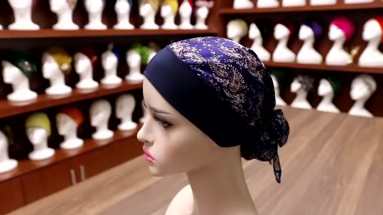 Oversize Most Beautiful Indian Muslim Wide-brimmed Braided Hood Chemo Hair Satin Cap Bonnet Hijab Scarf For Woman