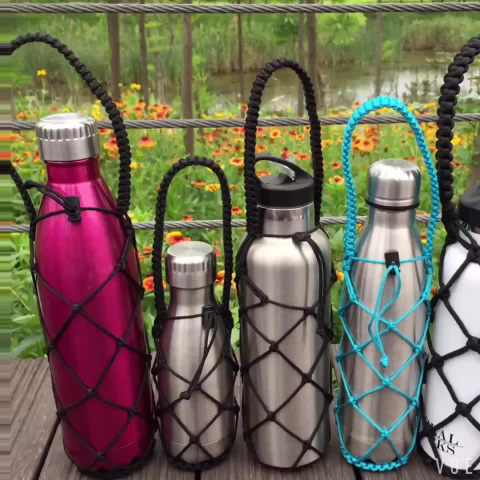 new design double wall water bottle bag paracord weaved standard mouth rope bottle bag