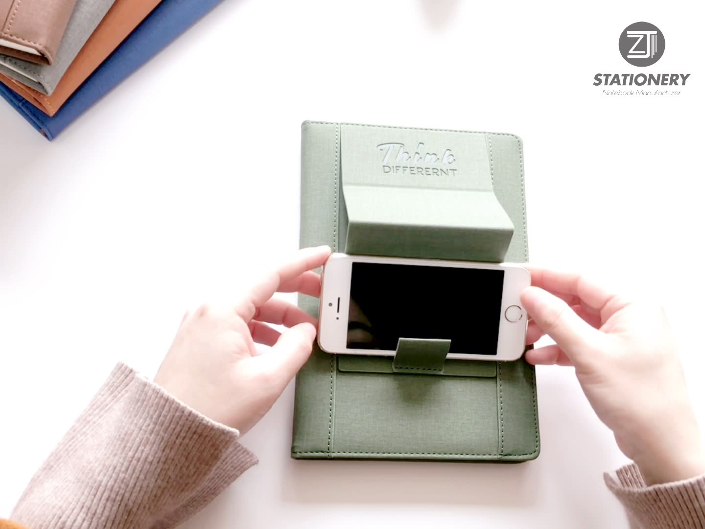 도매 B5 A5 접힌 가죽 노트북 포켓 전화 홀더