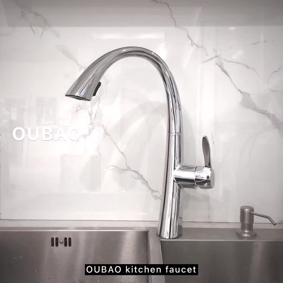 Single Lever Pull Out Spray Kitchen Faucet Tap In Chrome