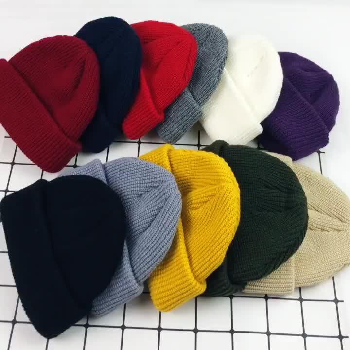 2019 Hot Sale Top Quality Custom Design Unisex Cuffed Plain Skull Knit Hat Cap