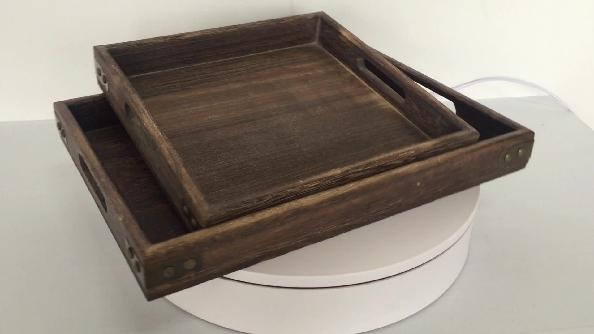 Decorative Soft Modern Style wood Tray with Polished Gold Metal Handles