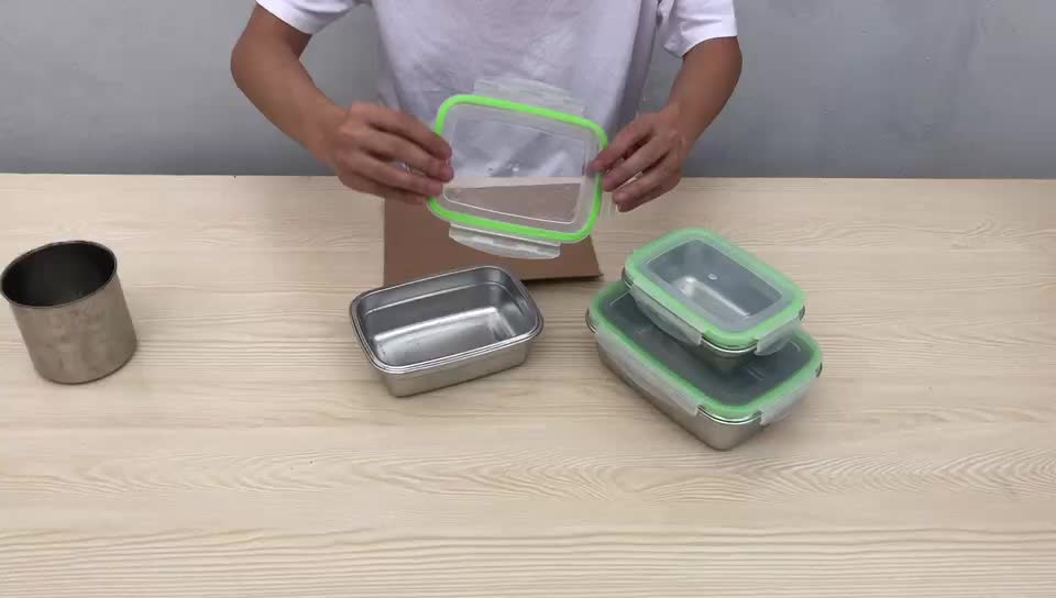 18/8 Stainless Steel Lunch Box Food Storage Container Bento Box With Airtight Lids 350/550/850ml