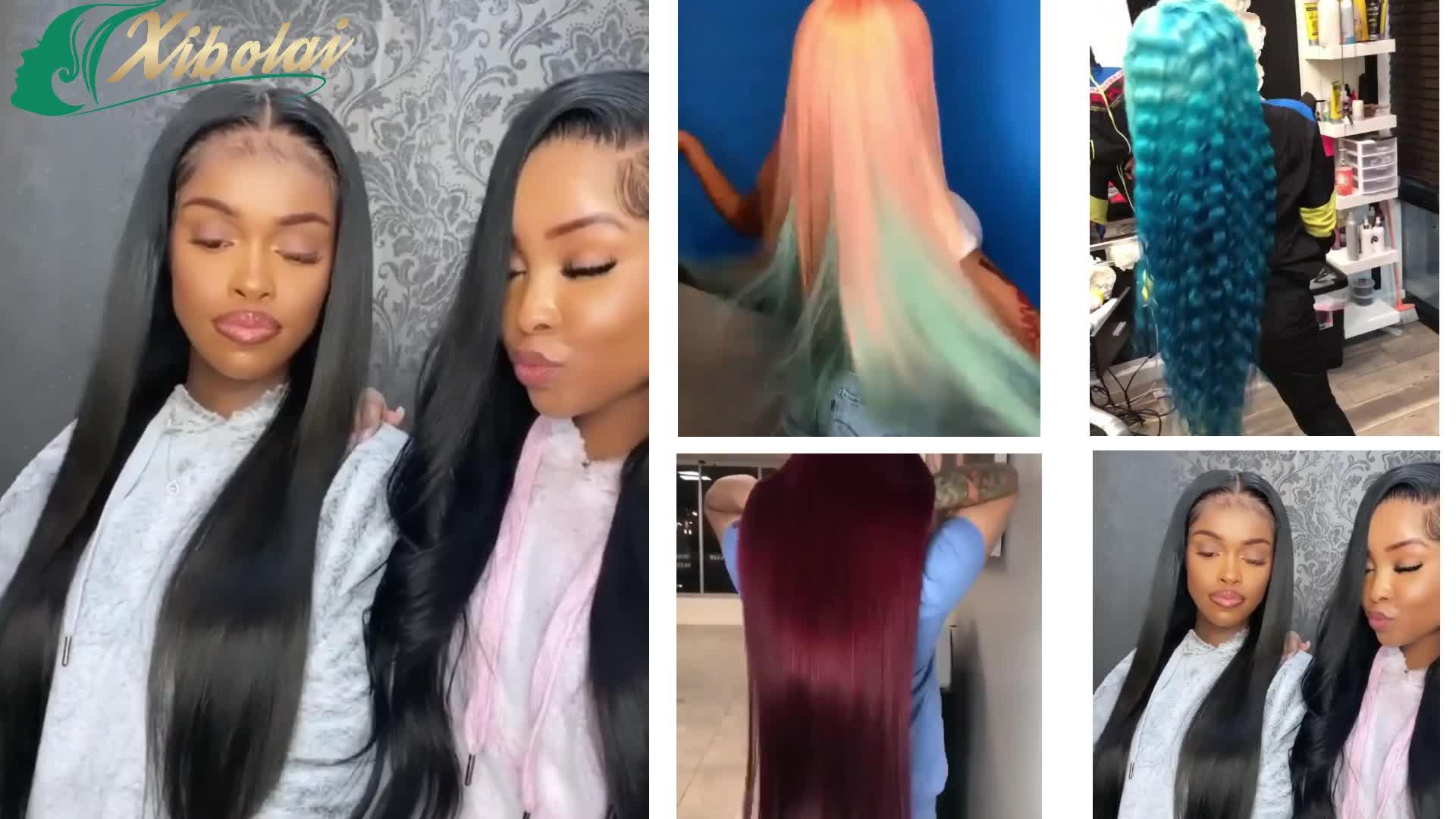 JcXBL OEM Custom virgin brazilian human hair closure wigs,100 colorful straight/curl wigs for pretty black women
