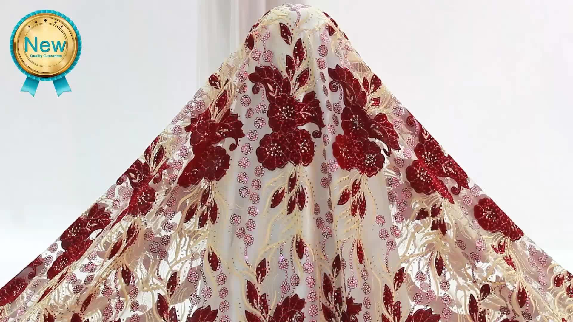 Bestway nouveau Design brodé en gros français paillettes dentelle tissus avec des pierres