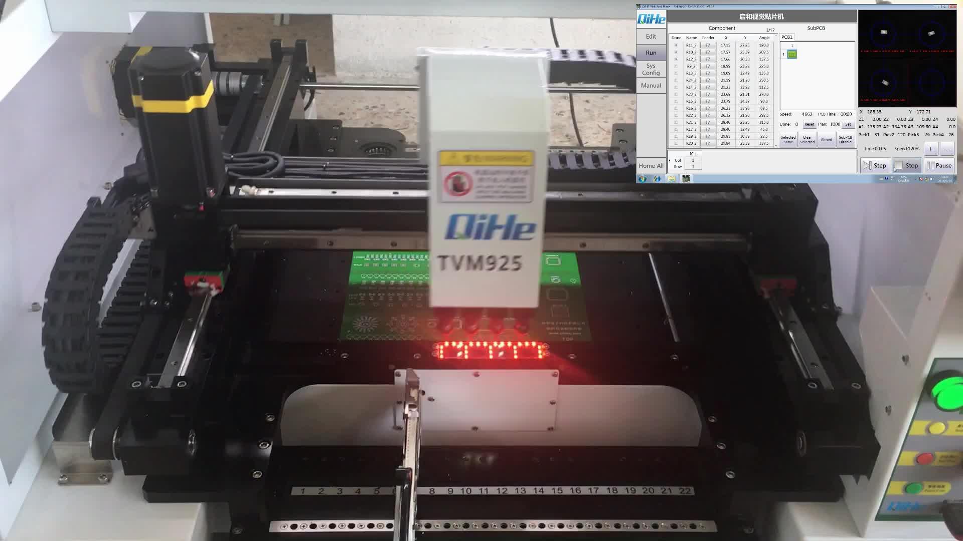 Factory direct supply PCB montage machines QIHE TVM925 SMT SMD pick en place machine met 6 camera's