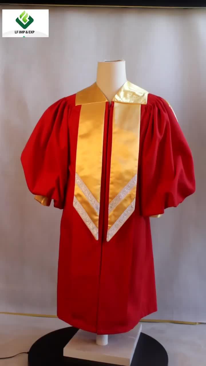 Commercio all'ingrosso Delxure Coro Abito Su Misura Chiesa Uniformi in Rosso e Oro di colore