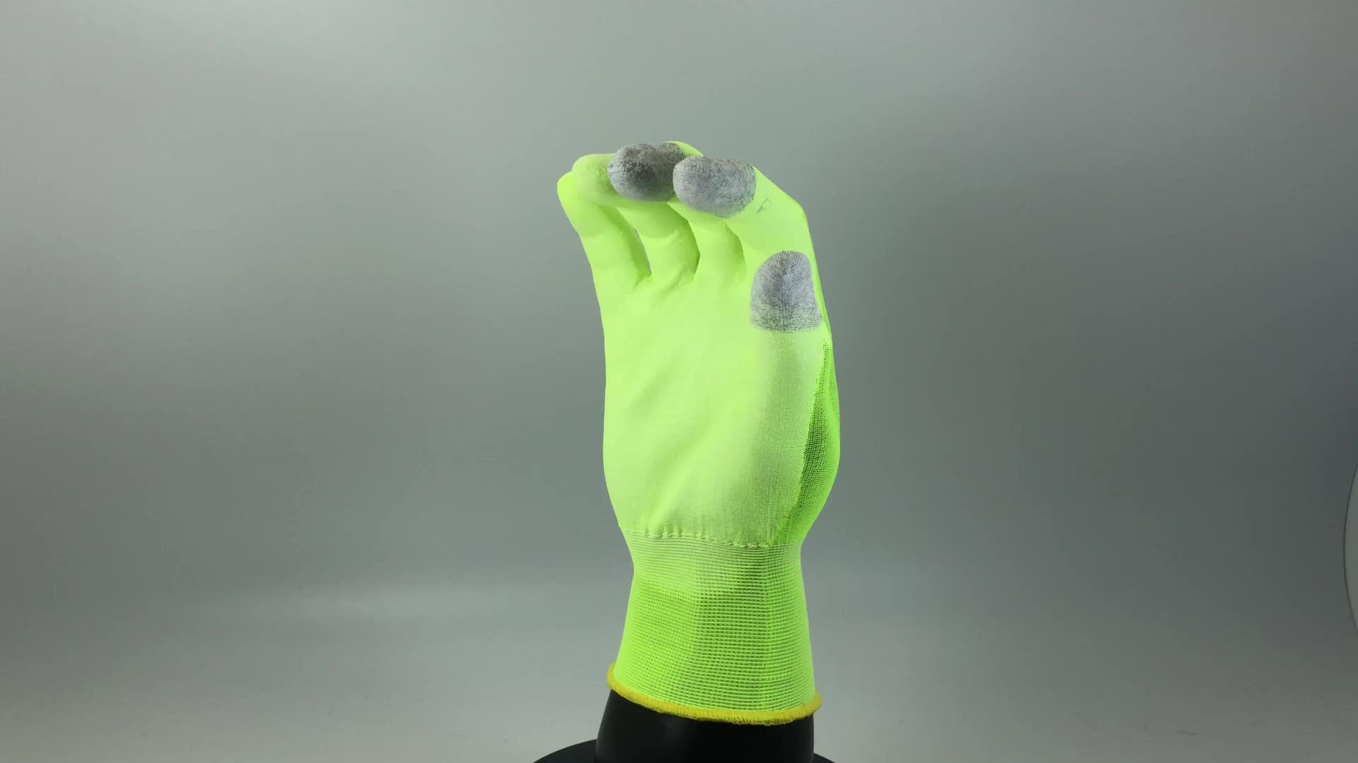 18 Gauge PU Palm Nylon Liner Drei Finger Touchscreen Dünne Arbeit Handschuh