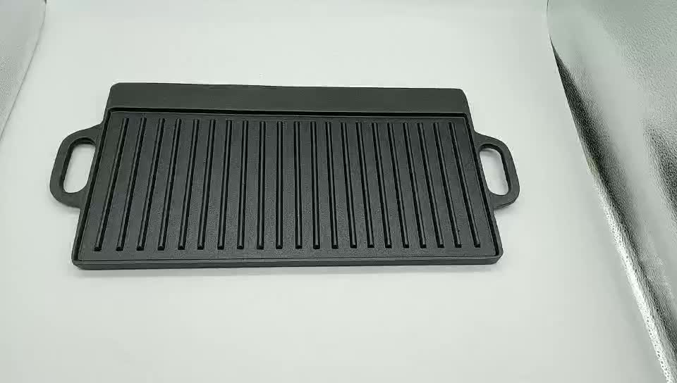 camping item rectangle BBQ cast iron griddle plate
