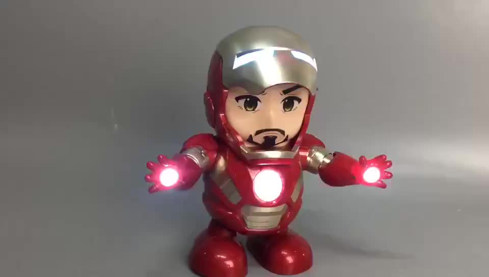 2019 hot selling hero superman iron action figure electronic toy dancing man with light and music for kids