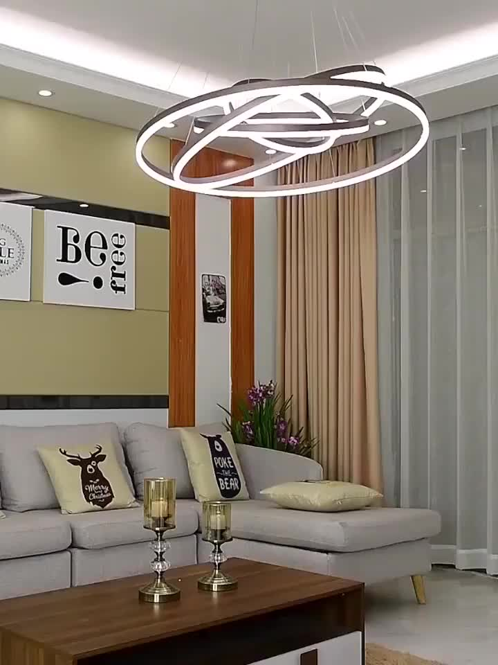 Home Deco Hanging Lighting Circle Rings LED Pendant Lights For Living Room Bedroom Dining Room Pendant Lamp